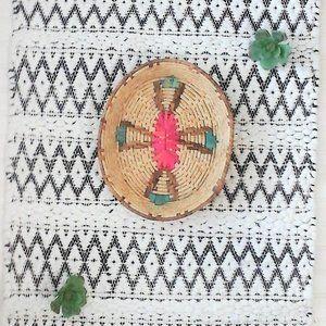 Vintage Southwest Wicker Aztec Tray/Wall Basket